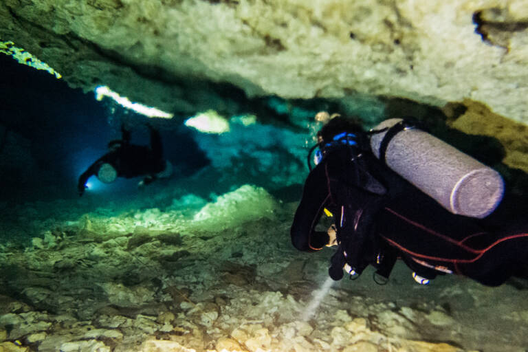 Two divers with blurry water