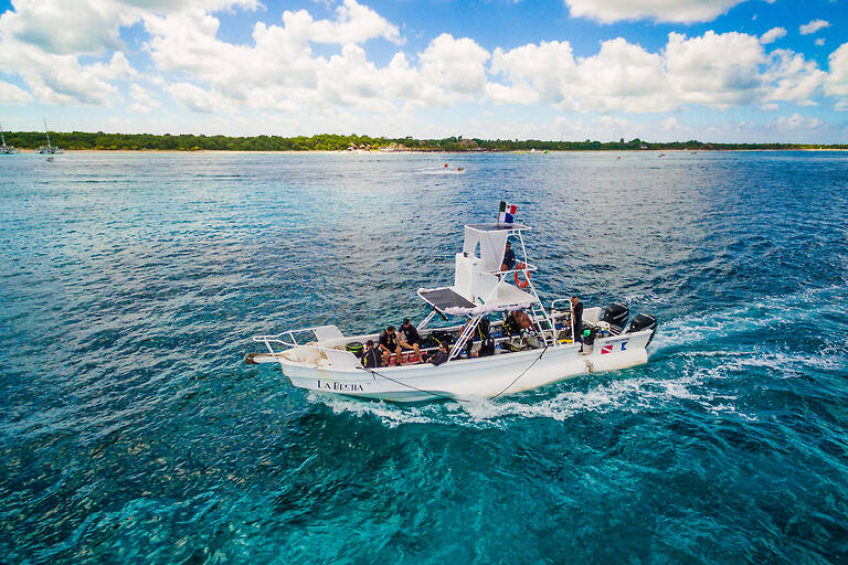 Dive boat in the Cozumel Marine Park