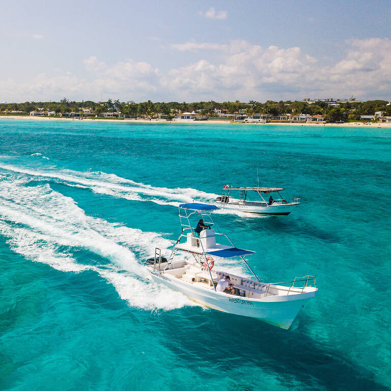 Two dive boats on the ocean